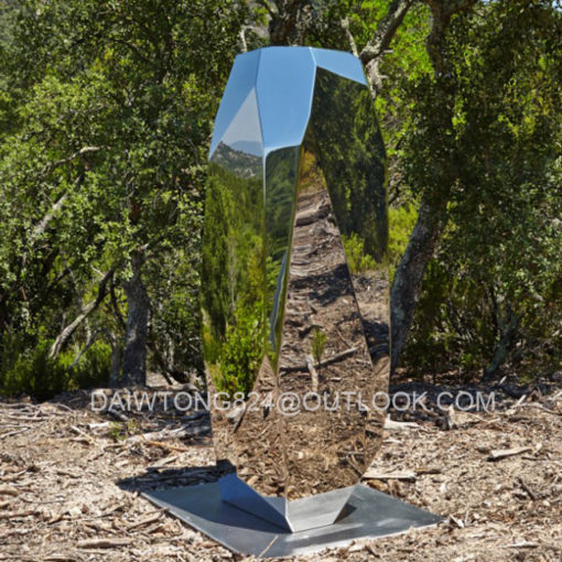 Mirror large outdoor geometric stainless steel rock sculpture